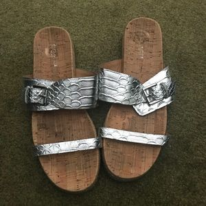 Silver Coach Leather and Cork Sandals
